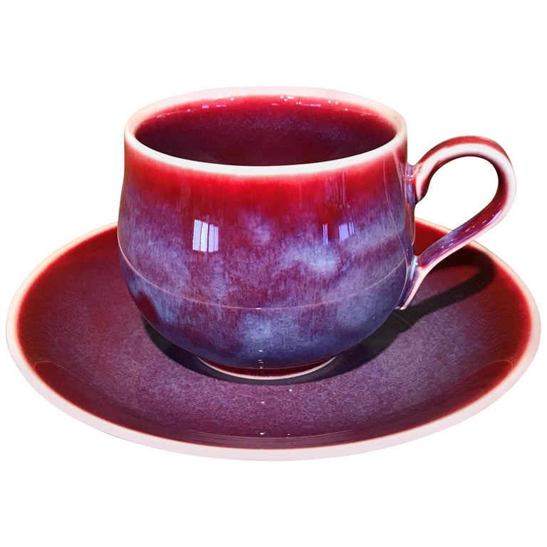 Japanese Red Hand-Glazed Porcelain Cup and Saucer by Contemporary Master Artist