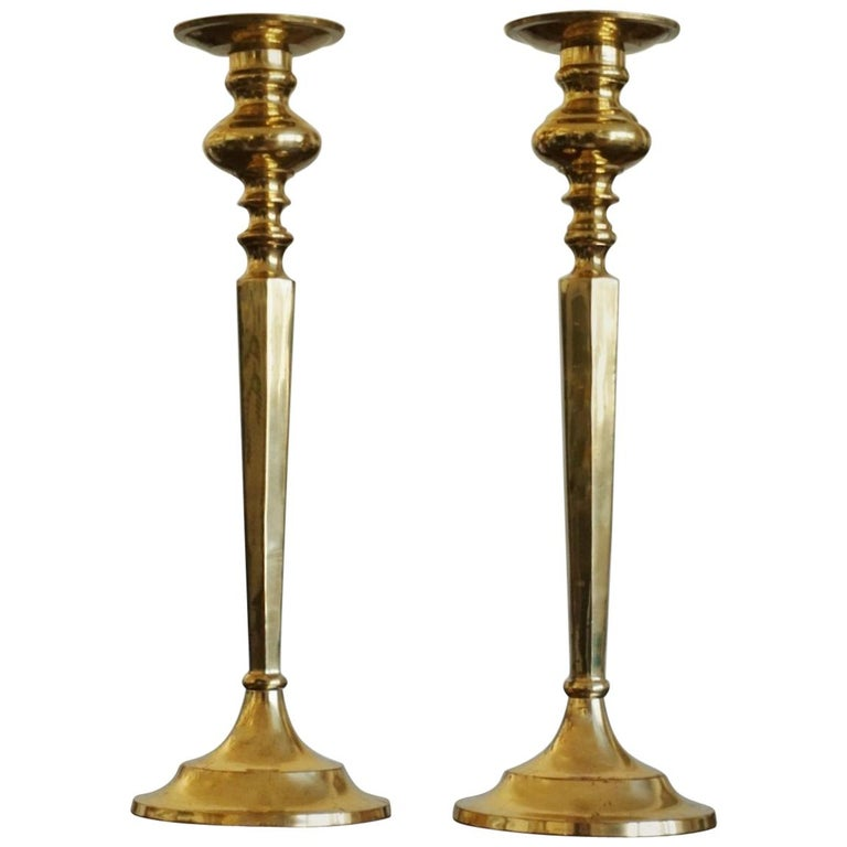 Early 20th Century Pair of French Brass Classical Candlesticks