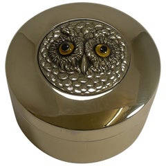 Antique English Brass Box - Owl with Glass Eyes, circa 1900