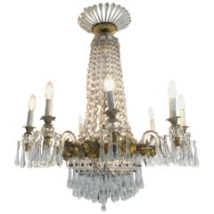 Italian Mid-19th Century Chandelier Gilded Wood and Crystal 12 Lights