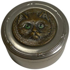 Antique Nickel Box, Brass Cat with Glass Eyes, circa 1900