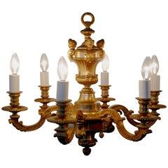 French Gilded Brass 6-Branch Rococo Chandelier