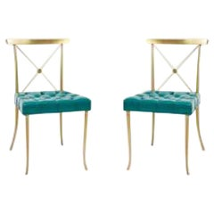 Pair of Billy Haines Brass Neoclassical Side Chairs 'Original Turquoise Leather'