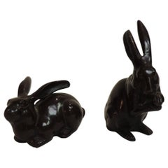 Vintage Pair of Brown Cast Brass Painted Rabbits Figurines