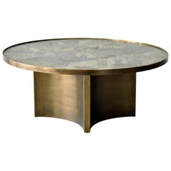Philip & Kelvin LaVerne, Rare Coffee Table Acid-Etched Pewter, Bronze, 1960s