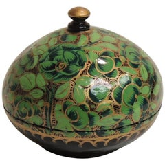 Small Vintage Green and Gold Hand Painted Indian Lacquered Jewelry Box