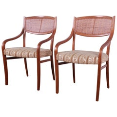 Barney Flagg for Drexel Parallel Walnut and Cane Armchairs, Pair