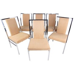 Set of Six Modern Chrome Dining Chairs