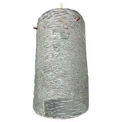 Large J.T. Kalmar Tube Pendant Lamp Textured Glass Patinated Brass Austria 1950s