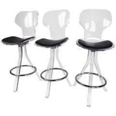 Set of Three Modern Lucite Swivel Bar Stools