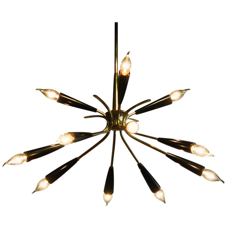 1950s, Italian Brass and Bakelite Sputnik Chandelier