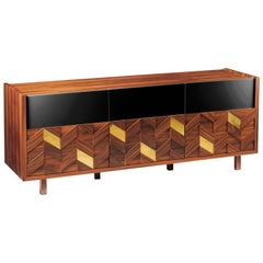 Sideboard Samoa in Iron Wood, Brass and Lacquer