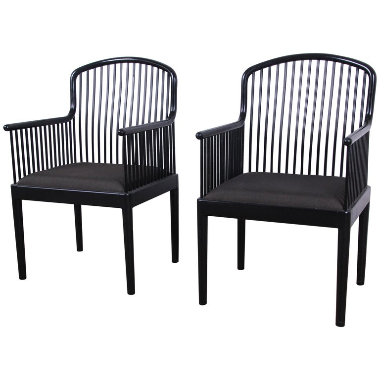 Davis Allen for Stendig Andover Black Lacquered Armchairs, Pair