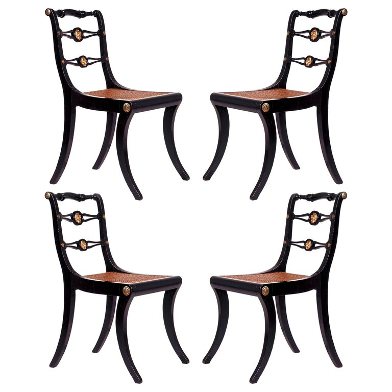 Set of Four Regency Black Lacquer Klismos Chairs, circa 1810