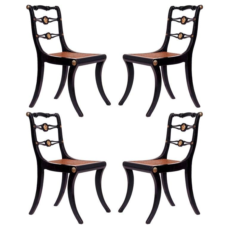 Set of Four Regency Black Lacquer Klismos Chairs, circa 1810 For Sale