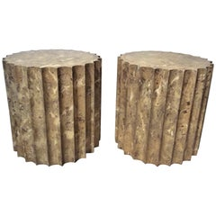 Pair of Fluted TableTop Faux Marble Pedestals or Low Tables