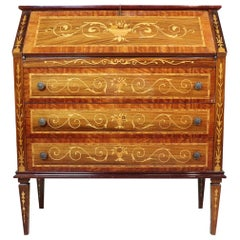20th Century Italian Louis XVI Inlay Rosewood Chest of Drawers with Secretaire