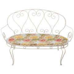 Wrought Iron French Garden Bench, 1950s