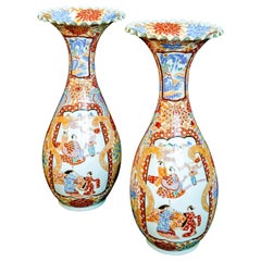 Large Pair of Antique Japanese Meiji Imari Vases