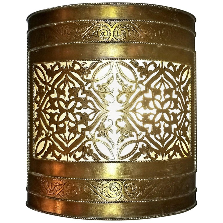 Pair of Half Cylindrical Moroccan Copper Wall Sconce, Short