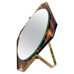 Table Mirror, Brass and Tortoise Plexiglass, Double-Sided Vanity, Italy 1970s