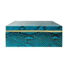 Flair Home Collection Large Turquoise Python Box