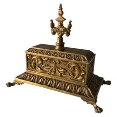 Sarcophagus Baroque Style Jewelry Box in Brass