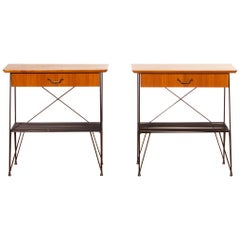 1950s, Set of Teak and Black Metal Gullberg Style Nightstands Bedside Tables