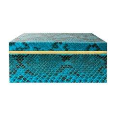 Flair Home Collection Small Turquoise Python Box