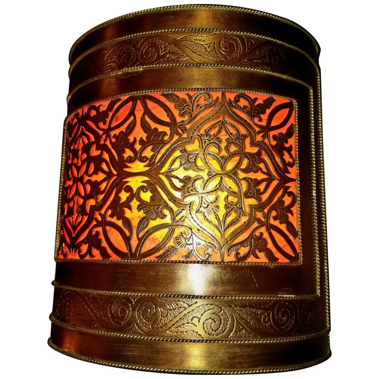 Pair of Half Cylindrical Moroccan Copper Wall Sconce, Orange Effect