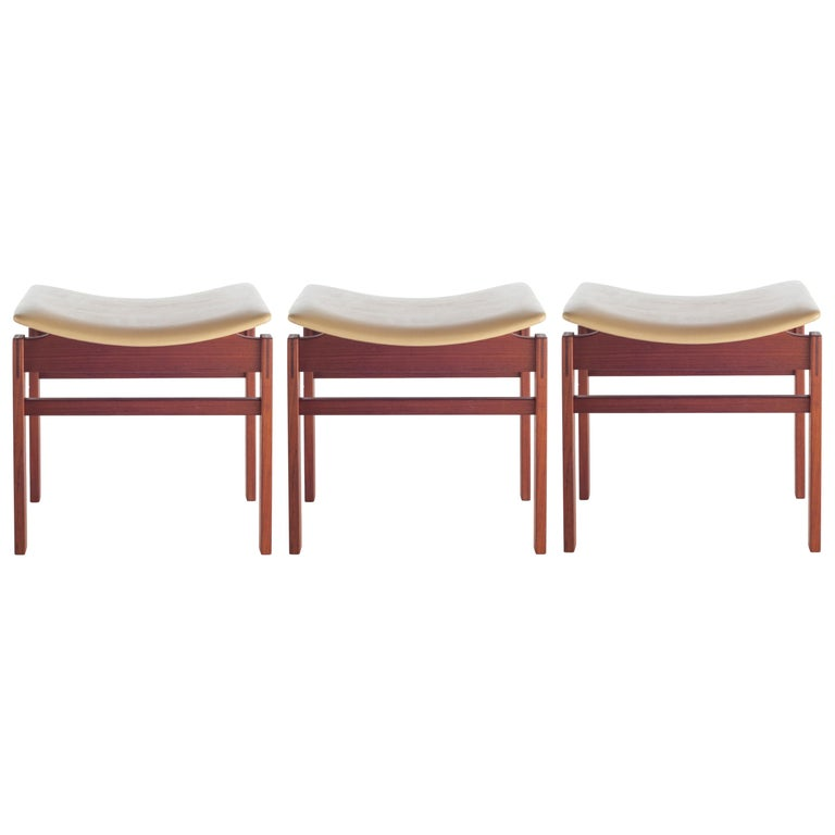 Set of Three Walnut and Leather Stools by Jens Risom, circa 1950s For Sale