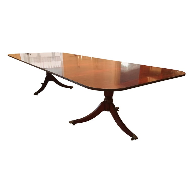 George III Style Double Pedestal Dining Table