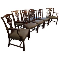 Set of Eight Early 20th Century Chippendale Style Dining Chairs