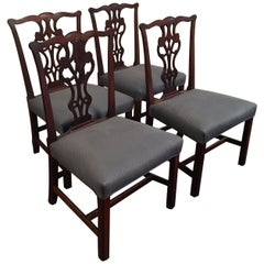 Set of Four Early 20th Century Chippendale Style Side Chairs
