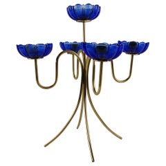 Candelabra with Blue Glass by Gunnar Ander for Ystad-Metall, Sweden