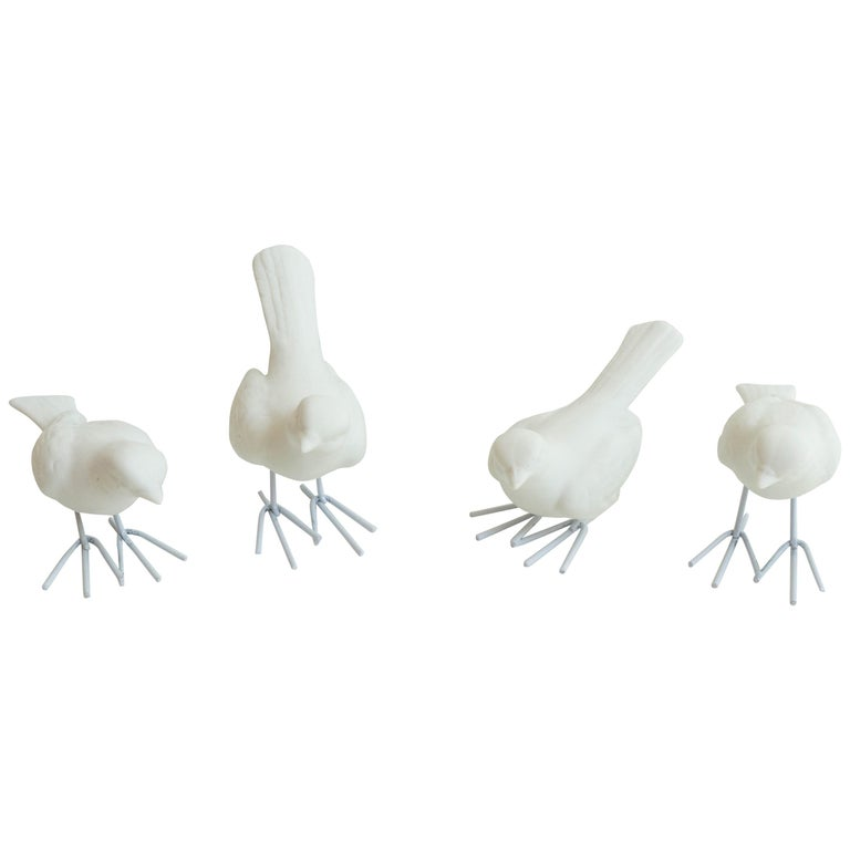 Porcelain Birds with Iron Legs Decoration