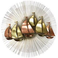 Midcentury Brutalist Brass Sunburst Starburst Sailboat Sculpture