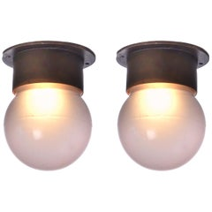 Pair of Petite Cruise Ship Deck Flush Mount Lamps