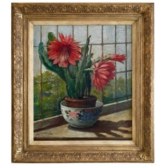 Jeanette Slager, 1881-1945, Flowering Cactus, Oil on Canvas, 1920