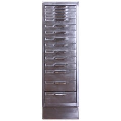 Vintage Industrial Stripped Metal 15-Drawer Filing Cabinet