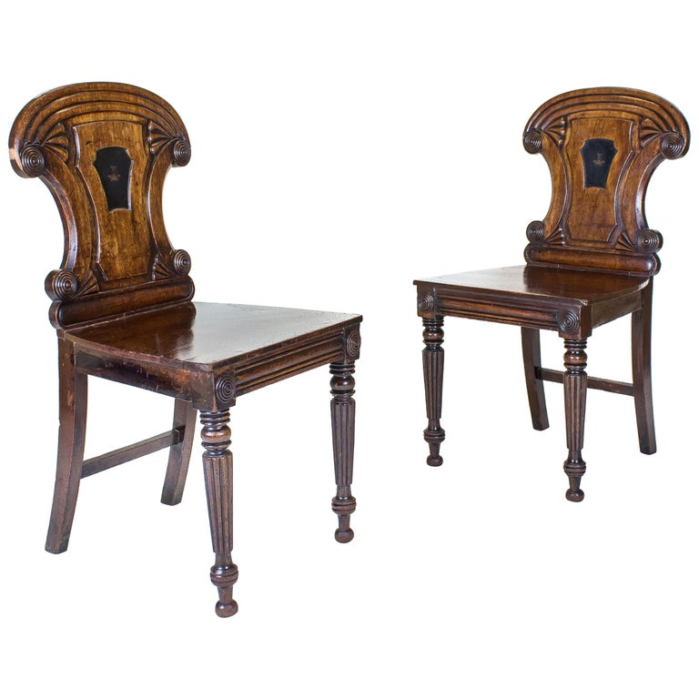 Pair of George iv Mahogany Hall Chairs