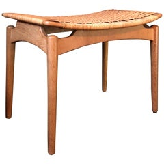 Finn Juhl Attributed Stool in Oak and Cane, Identical Pair Available