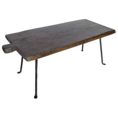 Antique Rustic  Wooden Tray with Iron Legs
