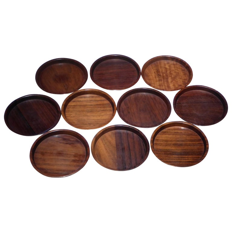 1960s Set 10 Danish Modern Carved Rosewood Coasters by Saap of Denmark For Sale