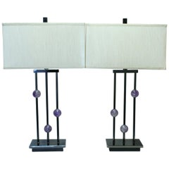 Pair of Modern Style Amethyst Quartz Lamps