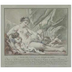 Cupid and Venus, After Rococo Pastel by Louis Marin Bonnet