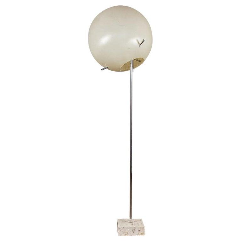 Paul Mayen Globe Chrome Floor Lamp with Travertine Base for Habitat