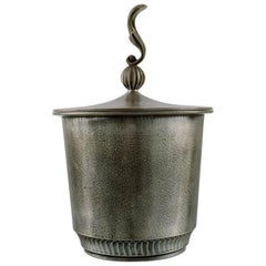Lidded Jar in Pewter by Edvin Ollers, Swedish Design, Art Deco, 1940s