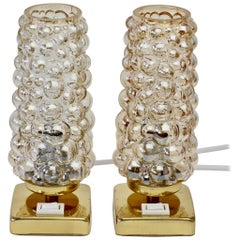 Vintage 1960s Limburg Style Amber Bubble Glass and Brass Table Lamps by Teka