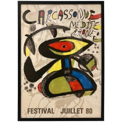 Rare 1980 Joan Miro Original Abstract Poster from Carcassone, France